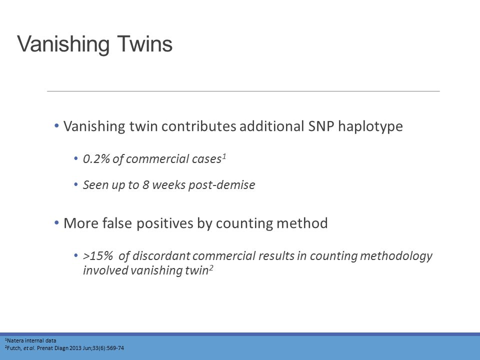 Vanishing Twins Vanishing twin contributes additional SNP haplotype 0.2% of commercial cases 1 Seen up to 8 weeks post-demise More false positives by