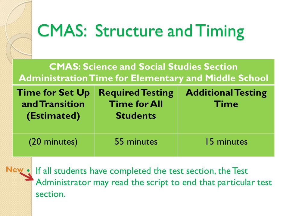 CMAS: Structure and Timing CMAS: Science and Social Studies Section Administration Time for Elementary and Middle School Time for Set Up and Transition (Estimated) Required Testing Time for All Students Additional Testing Time (20 minutes)55 minutes15 minutes If all students have completed the test section, the Test Administrator may read the script to end that particular test section.