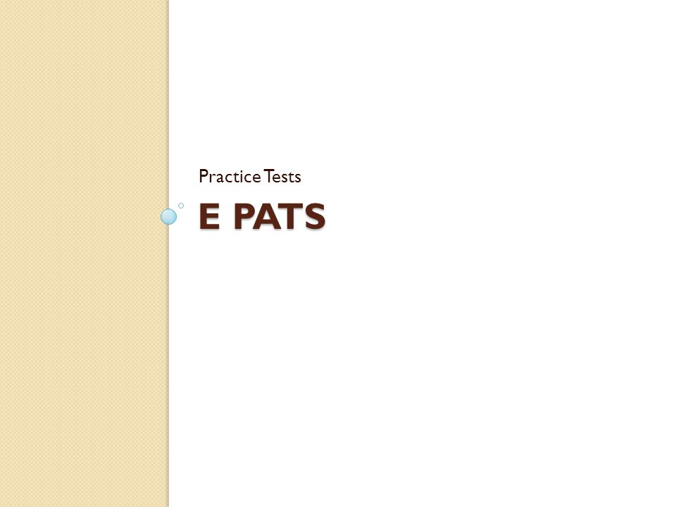 E PATS Practice Tests