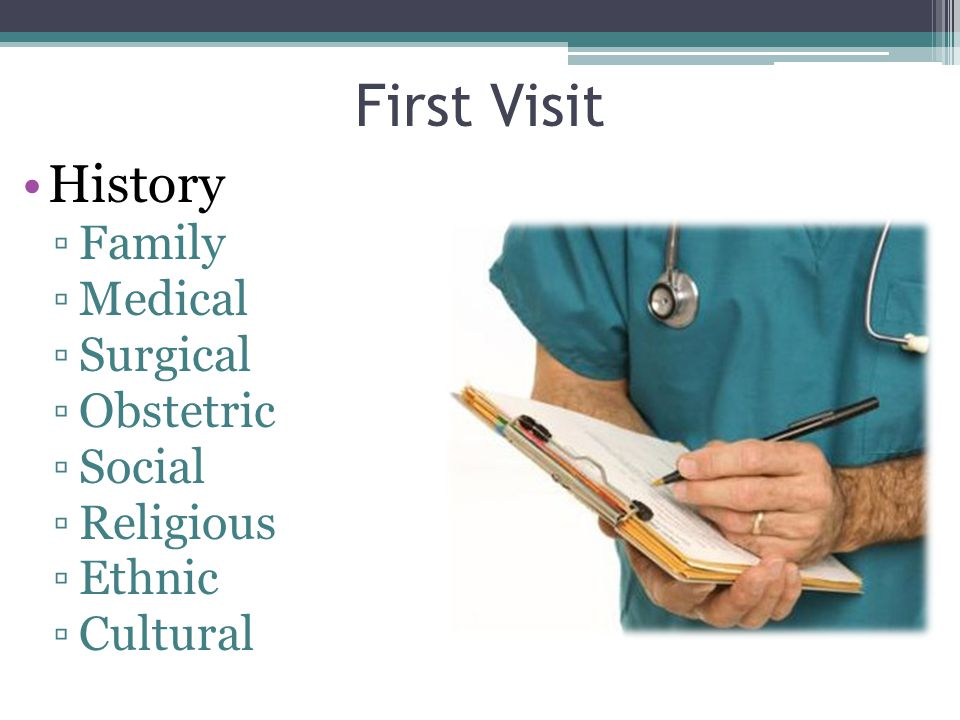 First Visit History ▫Family ▫Medical ▫Surgical ▫Obstetric ▫Social ▫Religious ▫Ethnic ▫Cultural