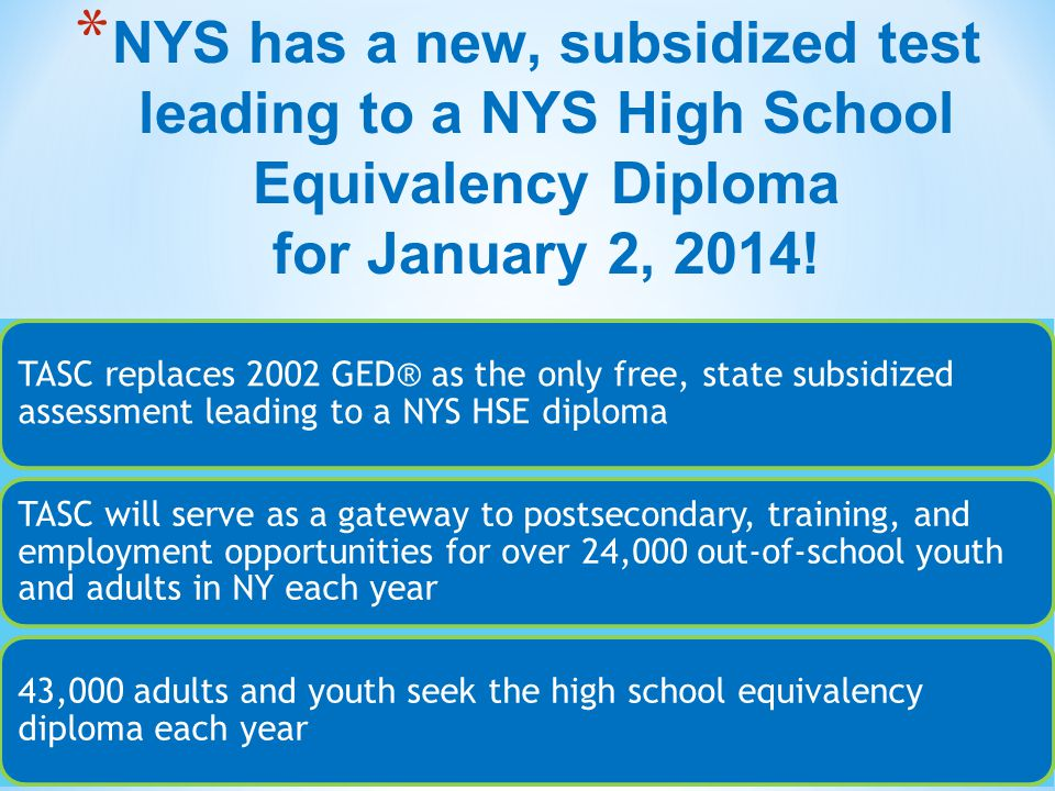 * NYS has a new, subsidized test leading to a NYS High School Equivalency Diploma for January 2, 2014! TASC replaces 2002 GED® as the only free, state