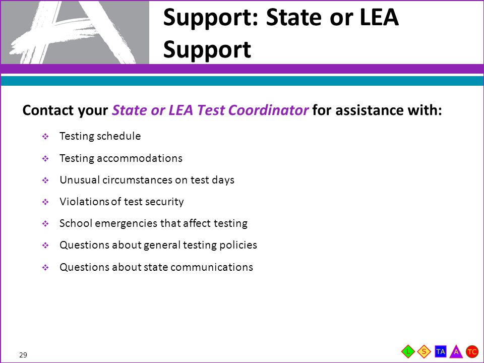 Support: State or LEA Support  Testing schedule  Testing accommodations  Unusual circumstances on test days  Violations of test security  School