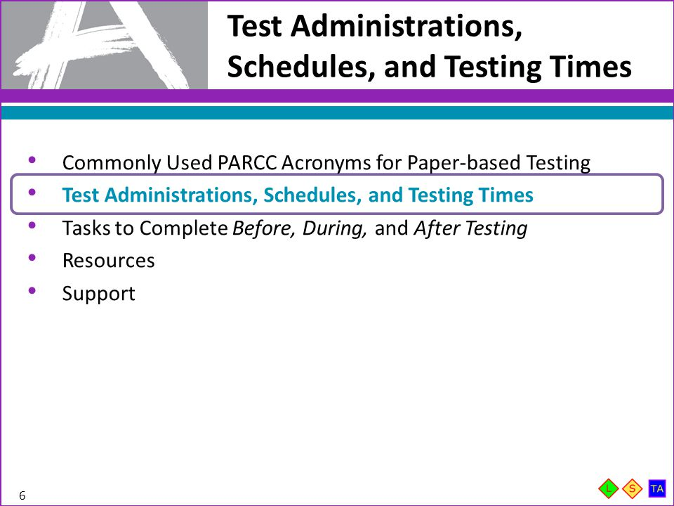 Test Administrations, Schedules, and Testing Times 6 Commonly Used PARCC Acronyms for Paper-based Testing Test Administrations, Schedules, and Testing