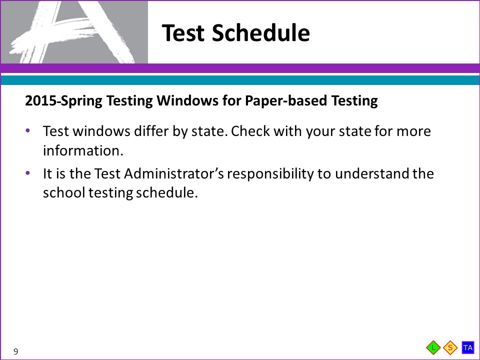 Guidelines for Administration Time 10 Guidelines for Administration Time Task Time to be Allotted for an Administration Preparing for testing (includes reading instructions to students and answering questions) 10 minutes Distributing test material 5 minutes Unit testing time 60–90 minutes* Completing end-of-unit activities, including closing units and collecting test materials 5–15 minutes *Depending on unit and subject—refer to Unit Guidelines and Schedule table in the Test Administrators Manual for each Unit Time.