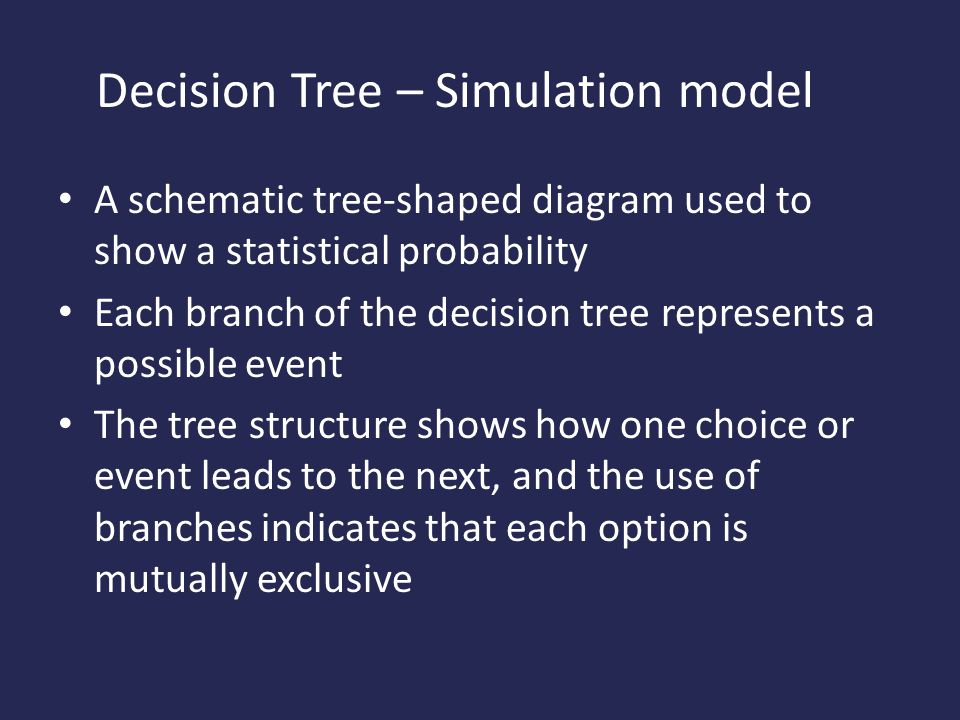 Decision Tree – Simulation model A schematic tree-shaped diagram used to show a statistical probability Each branch of the decision tree represents a possible event The tree structure shows how one choice or event leads to the next, and the use of branches indicates that each option is mutually exclusive