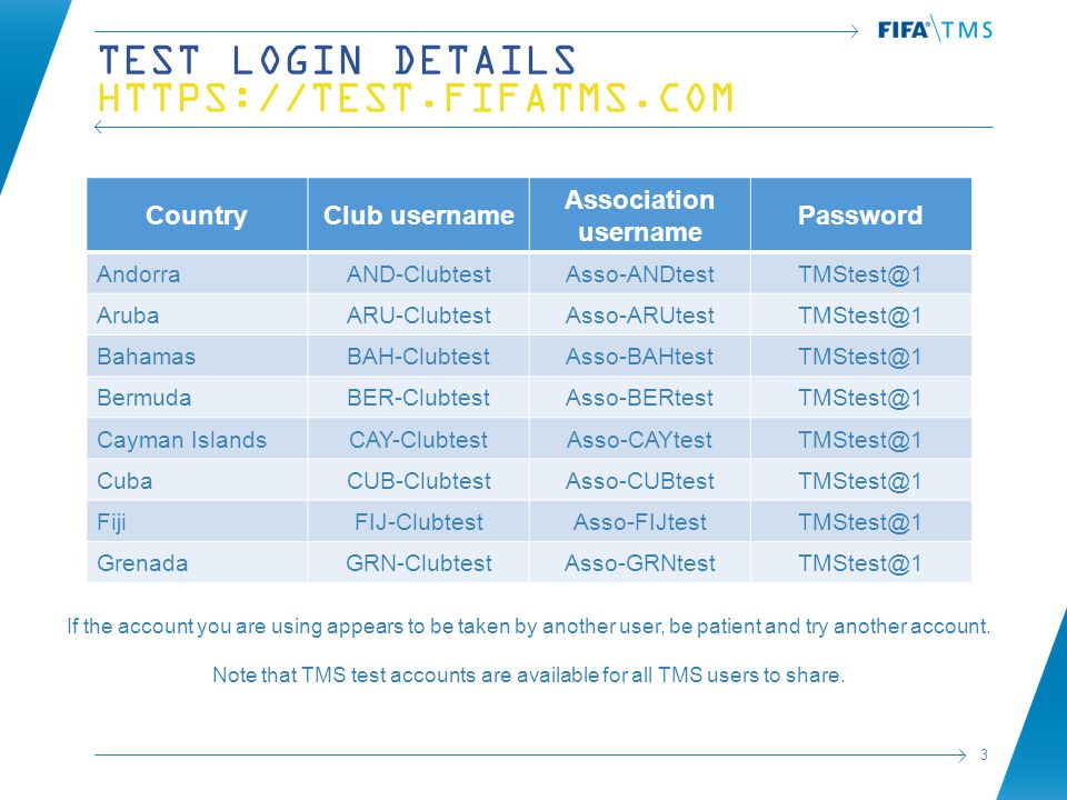 3 TEST LOGIN DETAILS HTTPS://TEST.FIFATMS.COM CountryClub username Association username Password AndorraAND-ClubtestAsso-ANDtestTMStest@1 ArubaARU-ClubtestAsso-ARUtestTMStest@1 BahamasBAH-ClubtestAsso-BAHtestTMStest@1 BermudaBER-ClubtestAsso-BERtestTMStest@1 Cayman IslandsCAY-ClubtestAsso-CAYtestTMStest@1 CubaCUB-ClubtestAsso-CUBtestTMStest@1 FijiFIJ-ClubtestAsso-FIJtestTMStest@1 GrenadaGRN-ClubtestAsso-GRNtestTMStest@1 If the account you are using appears to be taken by another user, be patient and try another account.