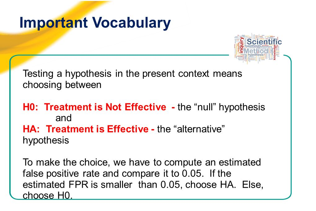 Important Vocabulary Testing a hypothesis in the present context means choosing between H0: Treatment is Not Effective - the null hypothesis and HA: Treatment is Effective - the alternative hypothesis To make the choice, we have to compute an estimated false positive rate and compare it to 0.05.