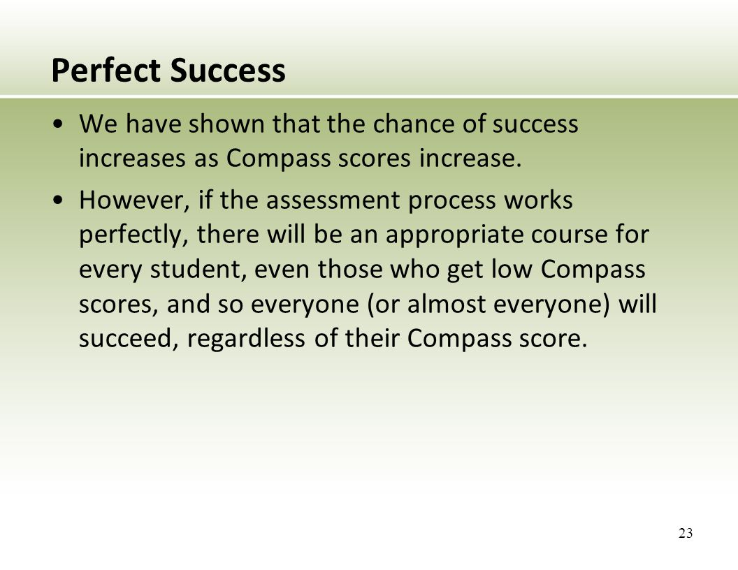 Perfect Success We have shown that the chance of success increases as Compass scores increase.
