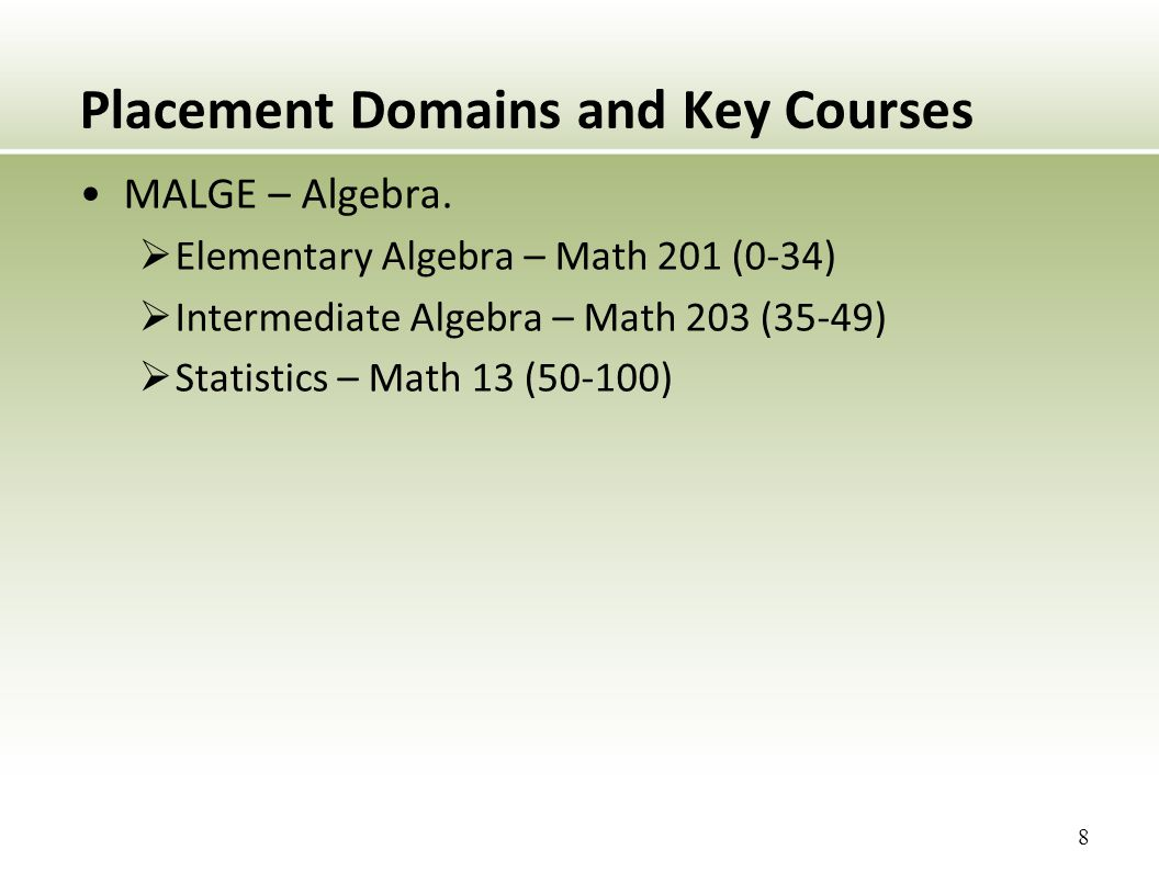Placement Domains and Key Courses MALGE – Algebra.