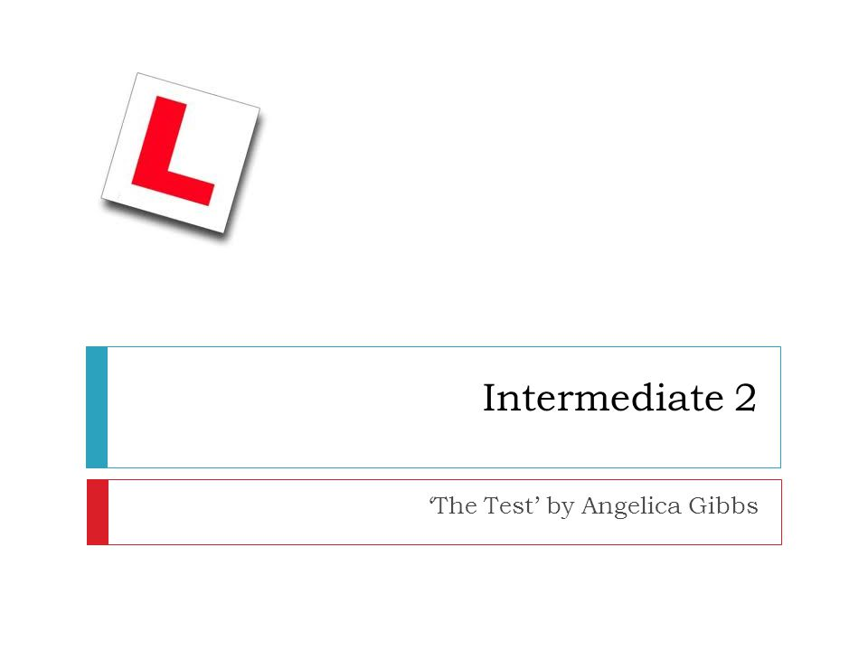 Intermediate 2 'The Test' by Angelica Gibbs
