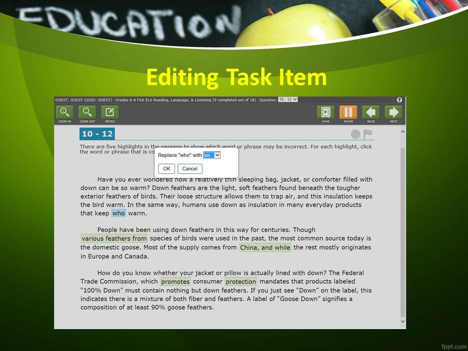 Editing Task Item