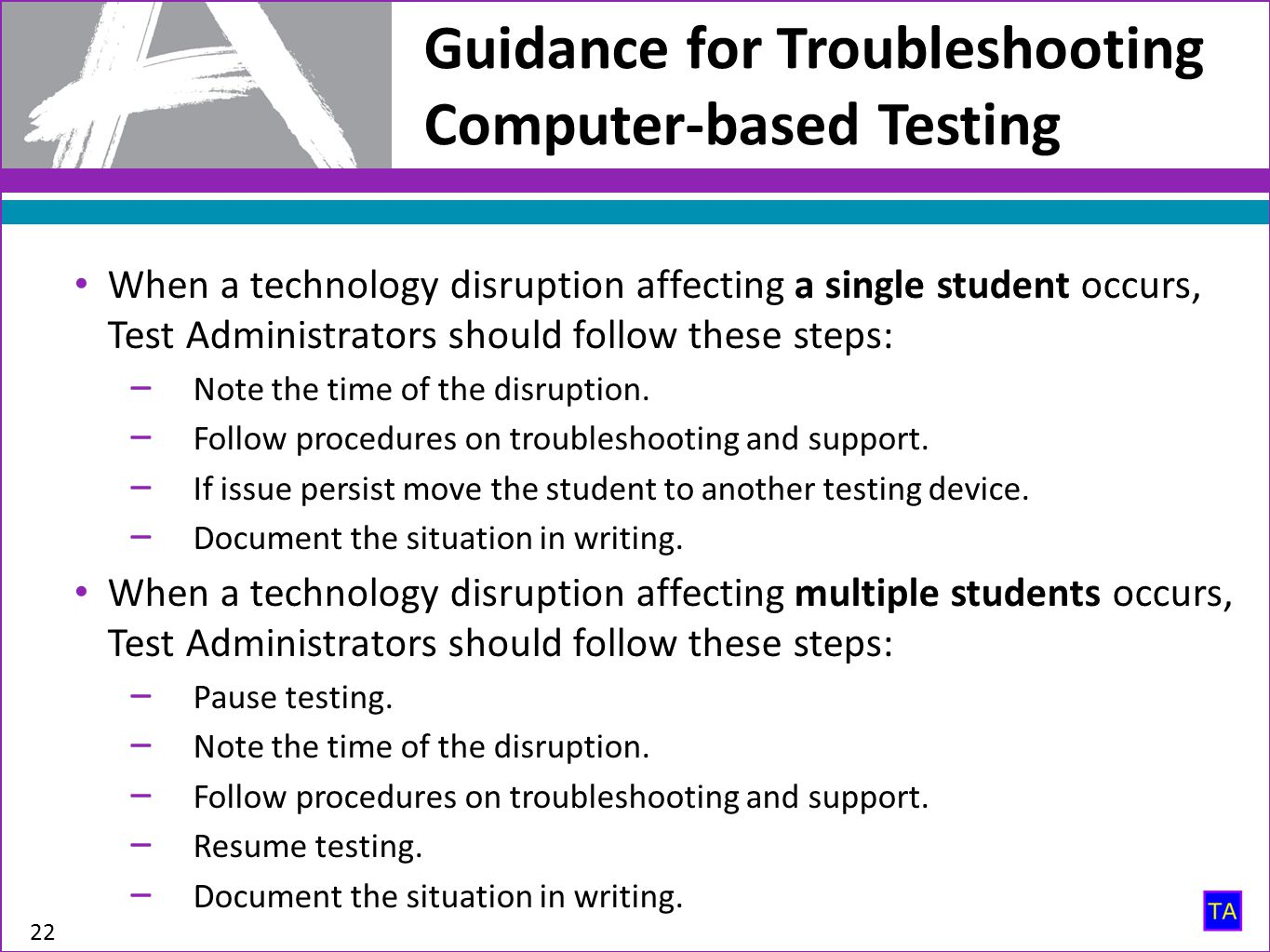 Guidance for Troubleshooting Computer-based Testing 22 When a technology disruption affecting a single student occurs, Test Administrators should follow these steps: ‒ Note the time of the disruption.