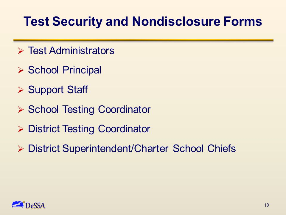  Test Administrators  School Principal  Support Staff  School Testing Coordinator  District Testing Coordinator  District Superintendent/Charter School Chiefs 10