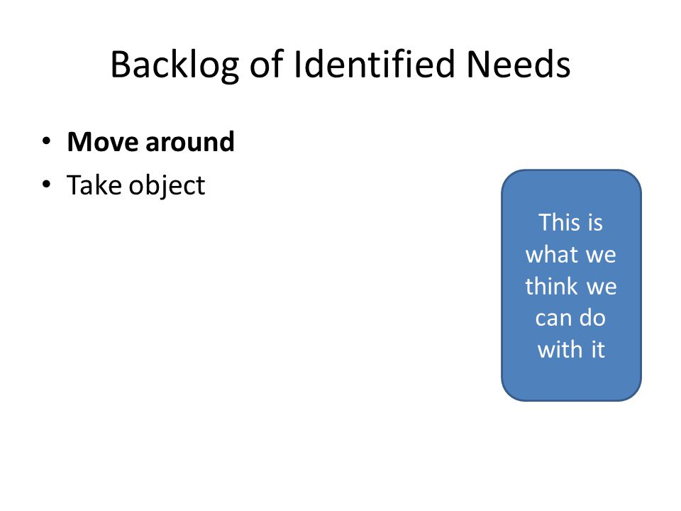 Backlog of Identified Needs Move around Take object This is what we think we can do with it