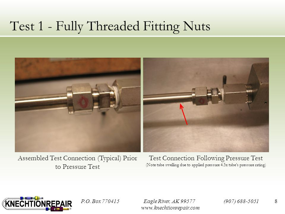 Test 1 - Fully Threaded Fitting Nuts 8 Assembled Test Connection (Typical) Prior to Pressure Test Test Connection Following Pressure Test (Note tube swelling due to applied pressure 4.5x tube's pressure rating) P.O.