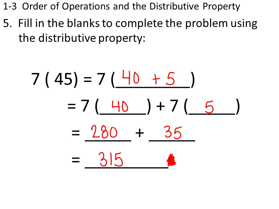 1-3 Order of Operations and the Distributive Property 5.