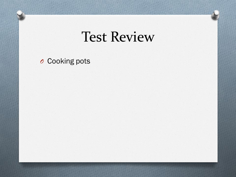 Test Review O Cooking pots