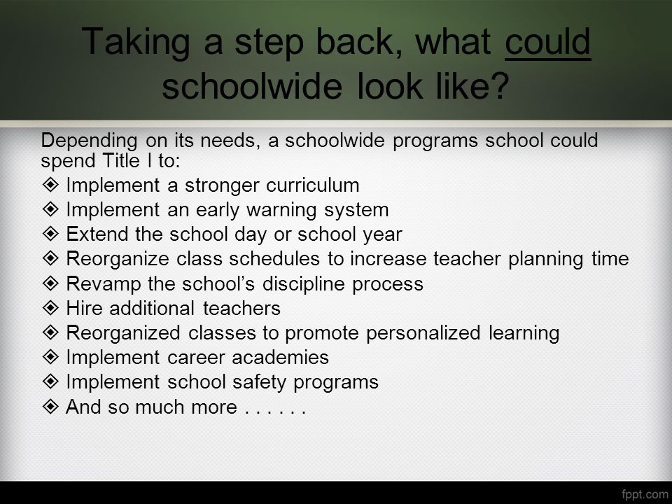 Taking a step back, what could schoolwide look like.