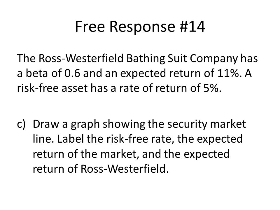 The Ross-Westerfield Bathing Suit Company has a beta of 0.6 and an expected return of 11%.