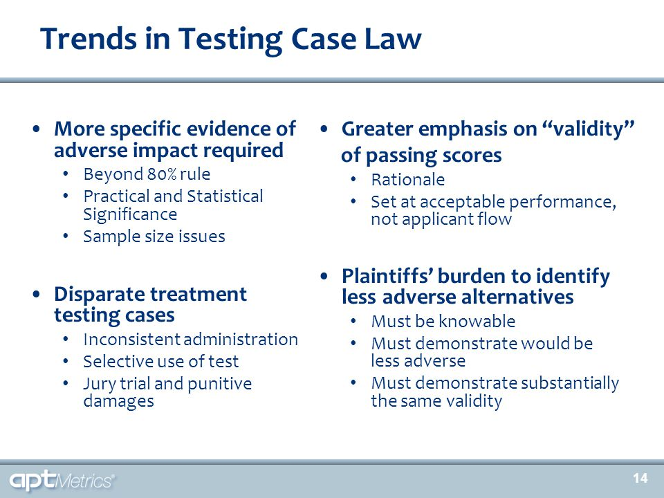 14 Trends in Testing Case Law More specific evidence of adverse impact required Beyond 80% rule Practical and Statistical Significance Sample size iss
