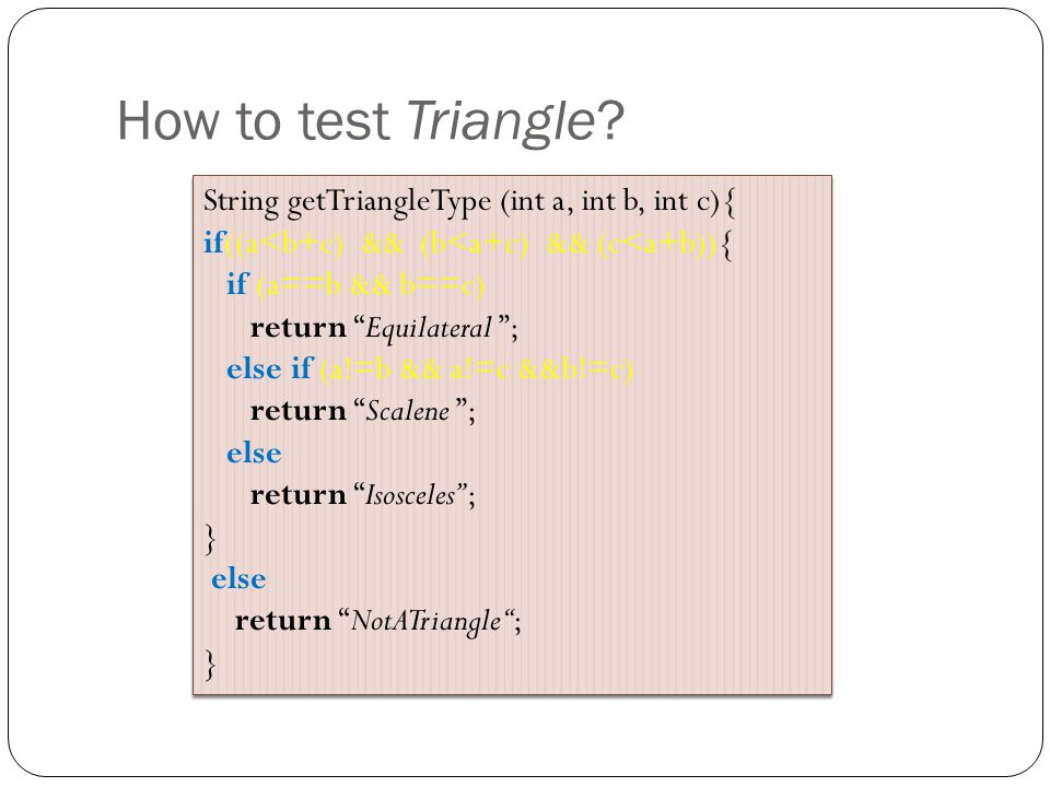 How to test Triangle.