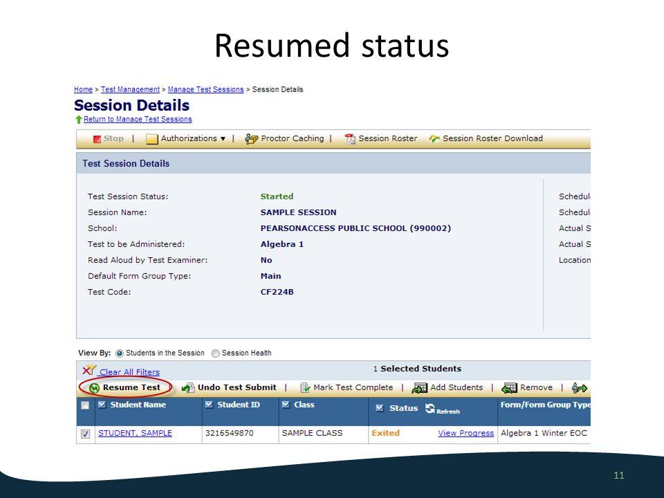 Resumed status 11