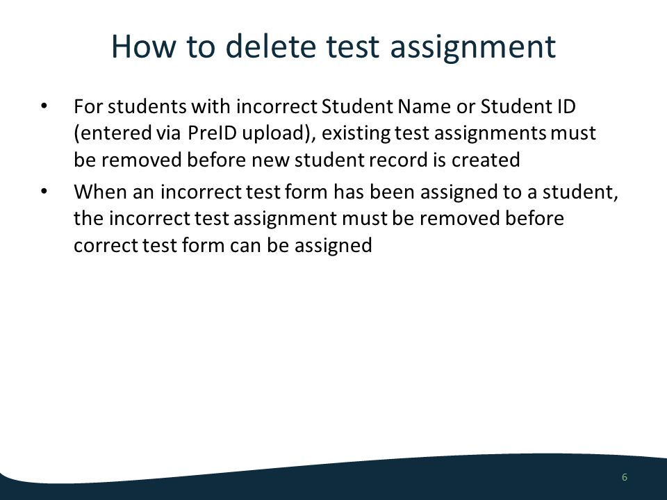 How to delete a test assignment 7