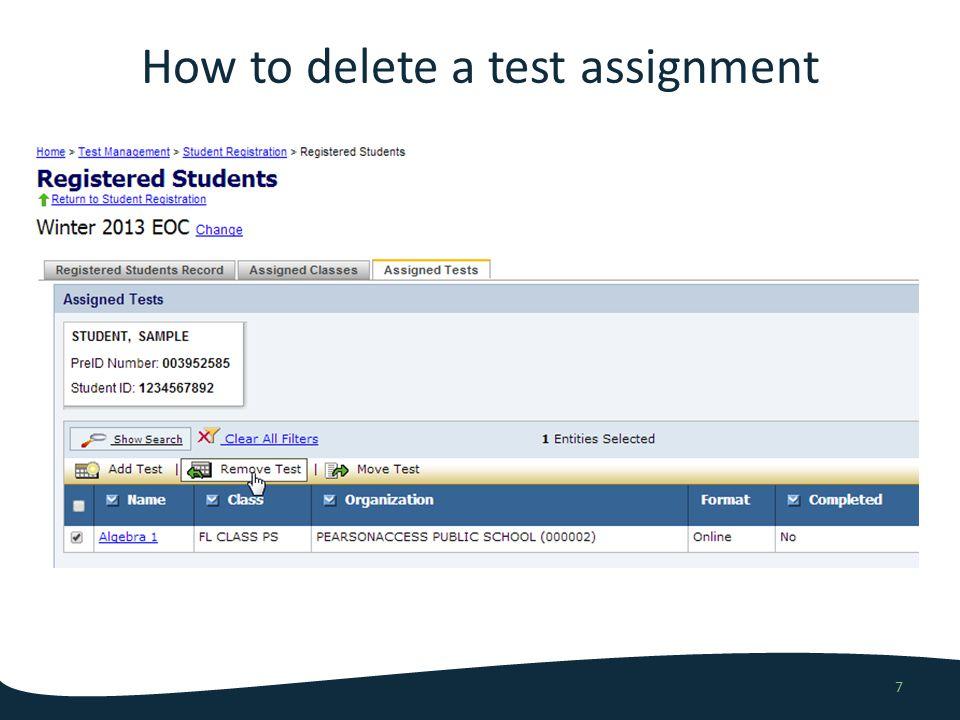 Demo add/remove test assignment 8
