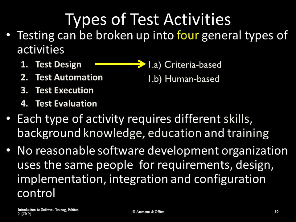Types of Test Activities Testing can be broken up into four general types of activities 1.Test Design 2.Test Automation 3.Test Execution 4.Test Evalua