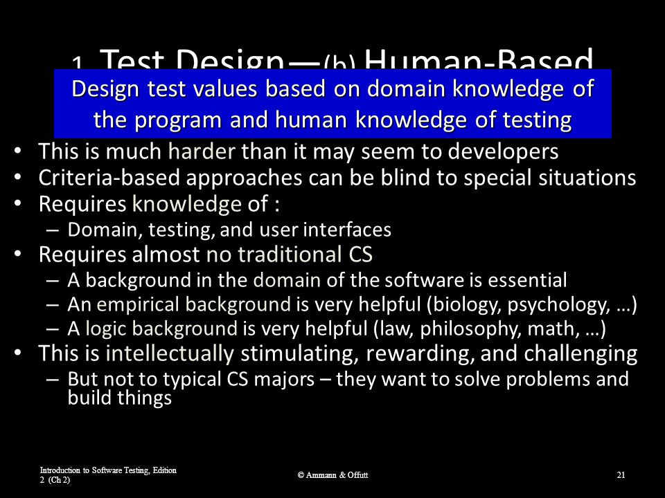 1. Test Design— (b) Human-Based This is much harder than it may seem to developers Criteria-based approaches can be blind to special situations Requir