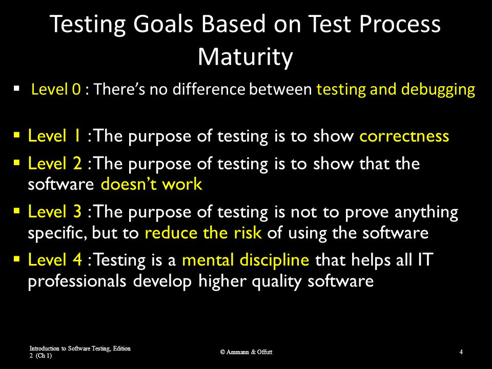 Testing Goals Based on Test Process Maturity  Level 0 : There's no difference between testing and debugging Introduction to Software Testing, Edition