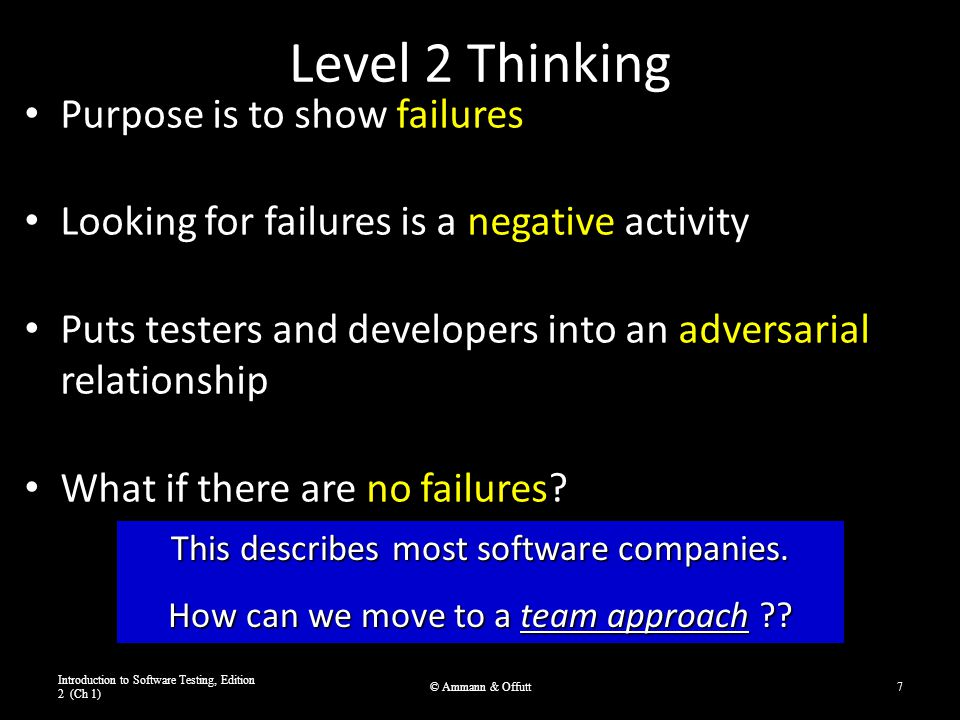 Level 2 Thinking Purpose is to show failures Looking for failures is a negative activity Puts testers and developers into an adversarial relationship