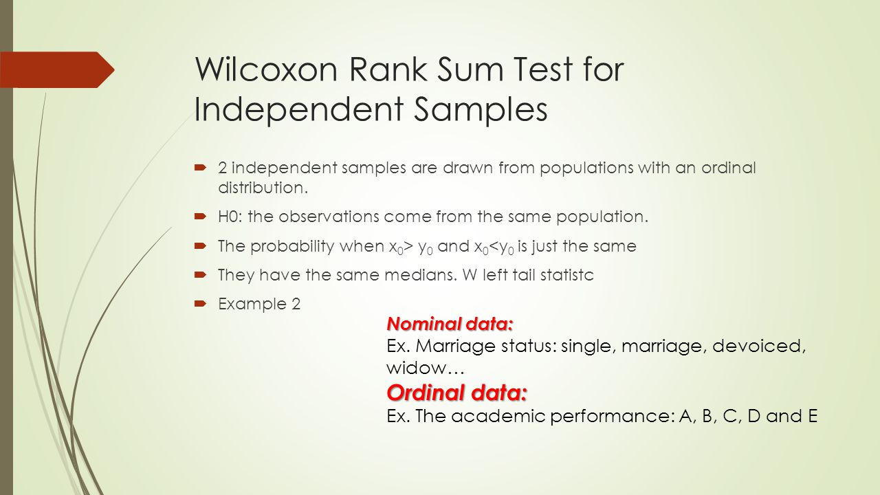 Wilcoxon Rank Sum Test for Independent Samples  2 independent samples are drawn from populations with an ordinal distribution.