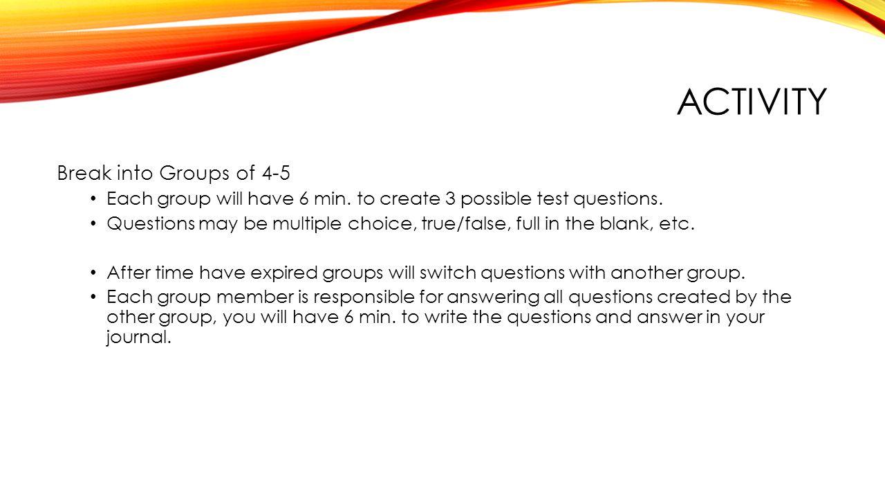 EXIT QUESTIONS Define Strike: Define Set-up: