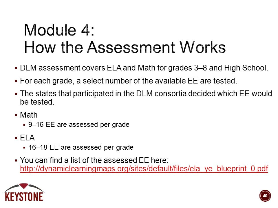  DLM assessment covers ELA and Math for grades 3–8 and High School.