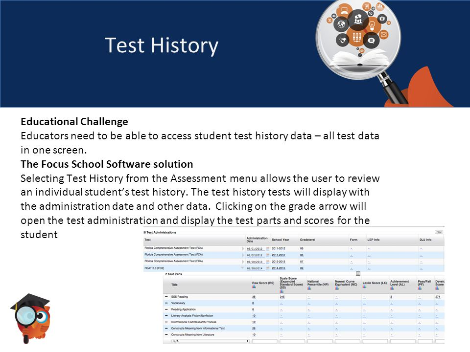 Test History Educational Challenge Educators need to be able to access student test history data – all test data in one screen.