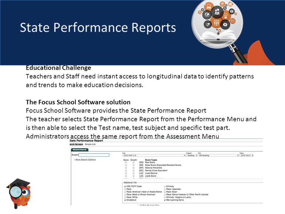 State Performance Reports The report will display the test, score types selected and three years of testing data.