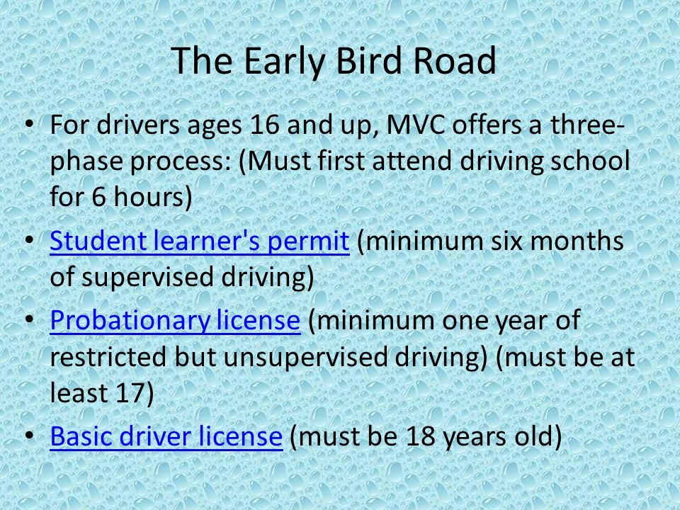 The Early Bird Road For drivers ages 16 and up, MVC offers a three- phase process: (Must first attend driving school for 6 hours) Student learner s permit (minimum six months of supervised driving) Student learner s permit Probationary license (minimum one year of restricted but unsupervised driving) (must be at least 17) Probationary license Basic driver license (must be 18 years old) Basic driver license