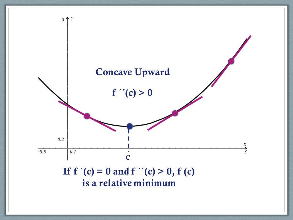 c If f ´(c) = 0 and f ´´(c) > 0, f (c) is a relative minimum Concave Upward f ´´(c) > 0