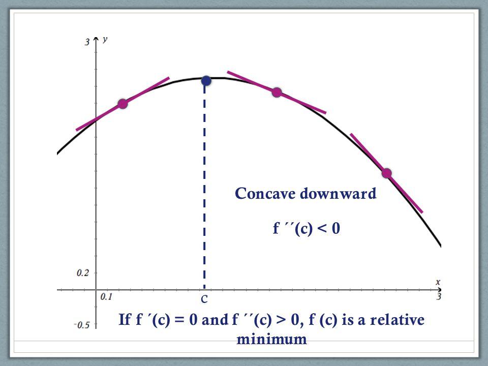 c If f ´(c) = 0 and f ´´(c) > 0, f (c) is a relative minimum Concave downward f ´´(c) < 0