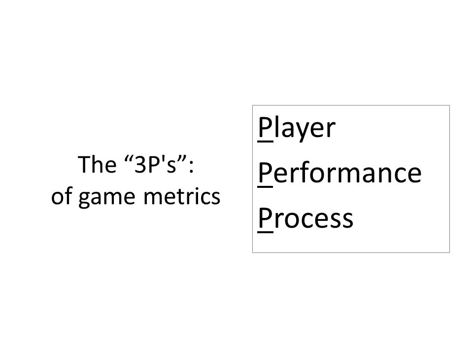 The 3P s : of game metrics Player Performance Process