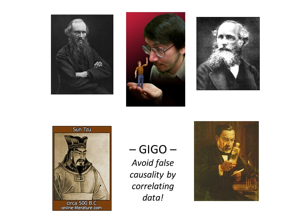 – GIGO – Avoid false causality by correlating data!