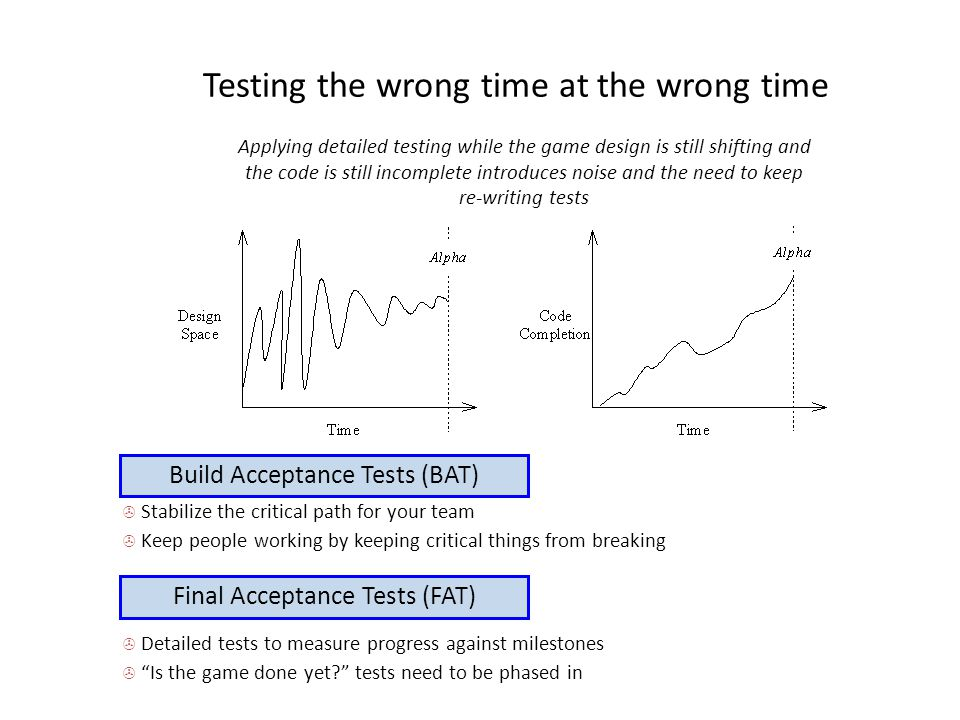 Testing the wrong time at the wrong time Applying detailed testing while the game design is still shifting and the code is still incomplete introduces noise and the need to keep re-writing tests Build Acceptance Tests (BAT)  Stabilize the critical path for your team  Keep people working by keeping critical things from breaking Final Acceptance Tests (FAT)  Detailed tests to measure progress against milestones  Is the game done yet? tests need to be phased in