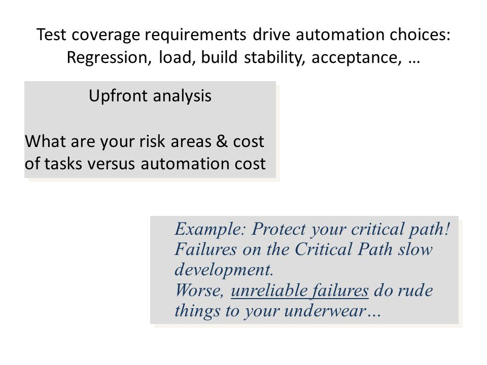 Test coverage requirements drive automation choices: Regression, load, build stability, acceptance, … Example: Protect your critical path.