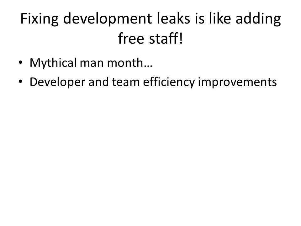 Fixing development leaks is like adding free staff.