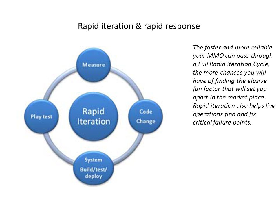 Rapid iteration & rapid response The faster and more reliable your MMO can pass through a Full Rapid Iteration Cycle, the more chances you will have of finding the elusive fun factor that will set you apart in the market place.