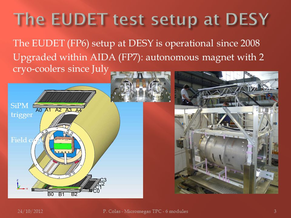 The EUDET (FP6) setup at DESY is operational since 2008 Upgraded within AIDA (FP7): autonomous magnet with 2 cryo-coolers since July 24/10/2012P.