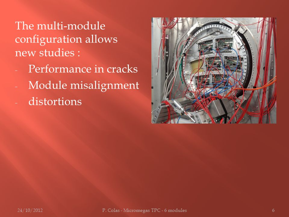 The multi-module configuration allows new studies : - Performance in cracks - Module misalignment - distortions 24/10/2012P.