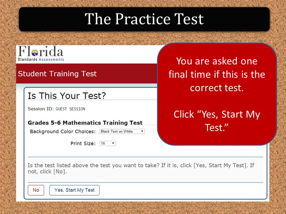 The Practice Test You are asked one final time if this is the correct test.