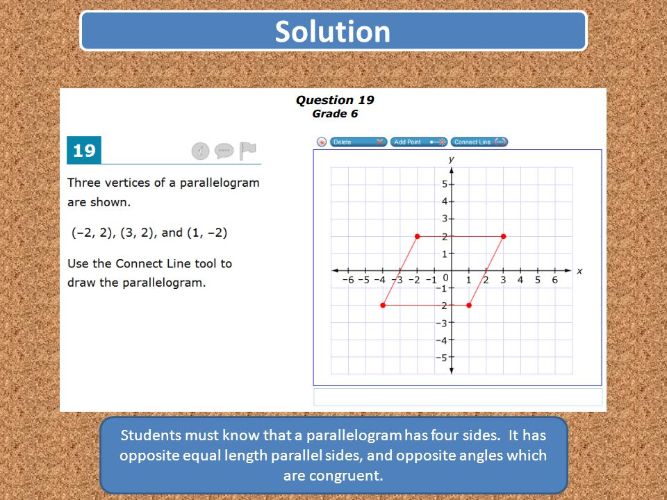 Solution Students must know that a parallelogram has four sides.